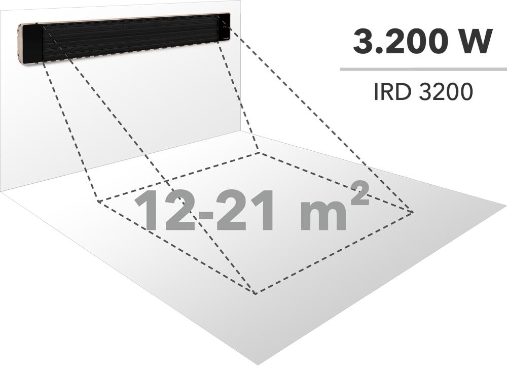 Verwarmingsoppervlak van een 3.200 W krachtige infrarood-straalkachel