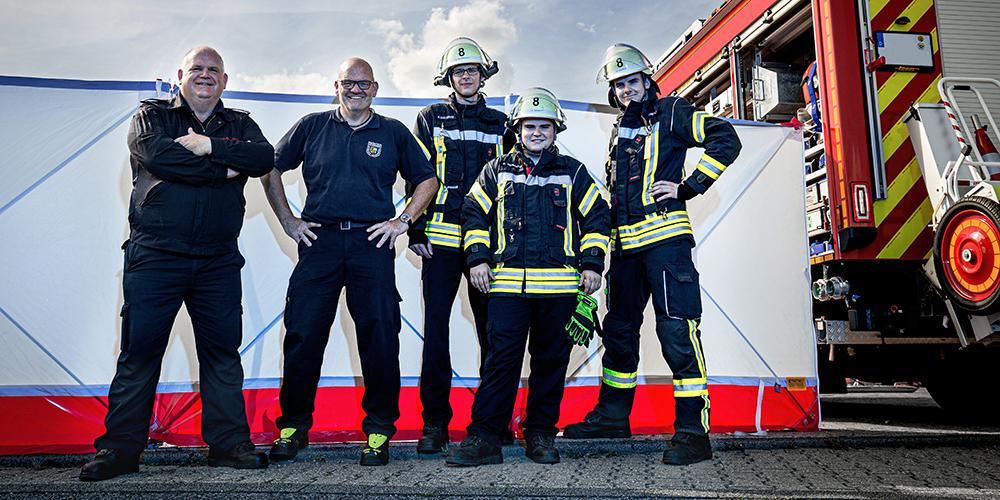 Löschgruppenführer Dirk Reinartz und das Team der Feuerwehr Langerwehe