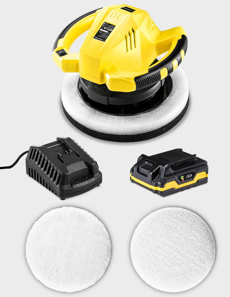 Inkl Ladeger/ät 2 Polierhauben Flexpower Multi-Akku 20 V 2,0 Ah TROTEC Akku-Exzenter-Poliermaschine PPOS 10‑20V Auto-Poliermaschine mit 3.000 Umdrehungen//Minute und gro/ßem 245 mm Polierteller