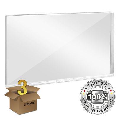 Büro-Schutzwand Acrylglas mit Aerosol-Schutzkante im 3er Paket 1158 x 69 x 688