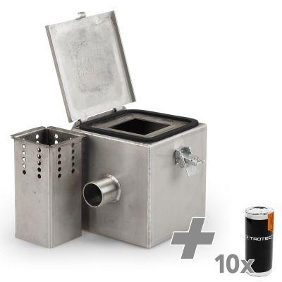 Rauchgaskammer Edelstahl V2 + 10x Rauchpatrone (weiss)