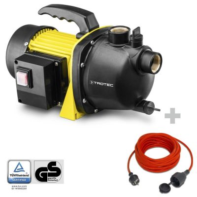 Gartenpumpe TGP 1000 E + Qualitäts-Verlängerungskabel 15 m / 230 V / 1,5 mm²