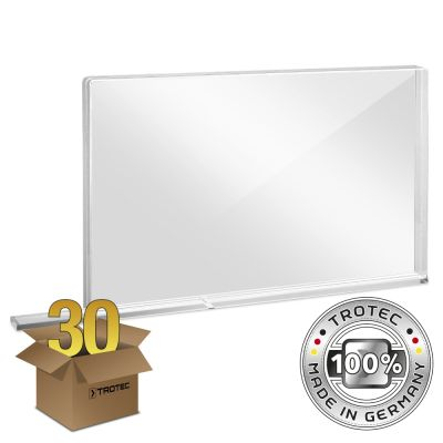Schul-Schutzwand Acrylglas mit Aerosol-Schutzkante im 30er Paket SMALL 800 x 69 X 500