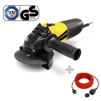 Winkelschleifer PAGS 10-115 + Qualitäts-Verlängerungskabel 15 m / 230 V / 1,5 mm²
