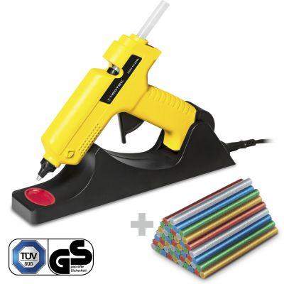 Heissklebepistole PGGS 10‑230V + Heissklebestifte-Set Glitzer, 50 Stück (Ø 11 mm)