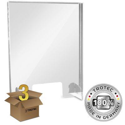 Thekenaufsatz Acrylglas mit Aerosol-Schutzkante im 3er Paket SMALL 595 x 250 X 750