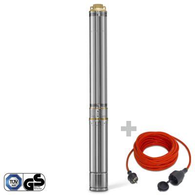Tiefbrunnenpumpe TDP 7500 E + Qualitäts-Verlängerungskabel 15m / 230 V / 1,5 mm²