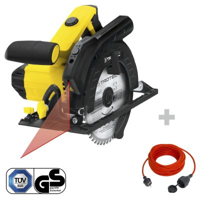 Handkreissäge PCSS 10-1400 + Qualitäts-Verlängerungskabel 15 m / 230 V / 1,5 mm²
