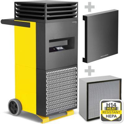 Vertikalheizer TES 200 + H14 Schwebstofffilter + Schallschutzhaube