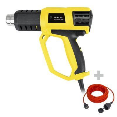 Heißluftpistole HyStream 2000 + Qualitäts-Verlängerungskabel 15m / 230 V / 1,5 mm²