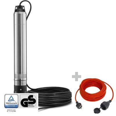 Tiefbrunnenpumpe TDP 750 E + Qualitäts-Verlängerungskabel 15m / 230 V / 1,5 mm²