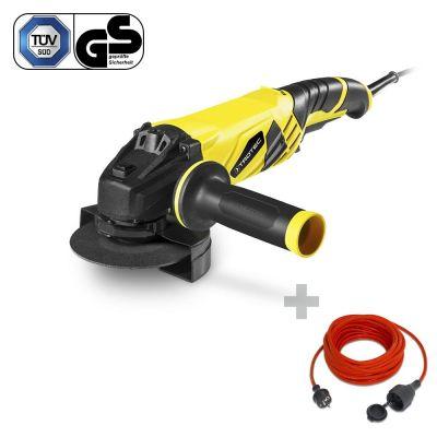 Winkelschleifer PAGS 10-125 + Qualitäts-Verlängerungskabel 15 m / 230 V / 1,5 mm²