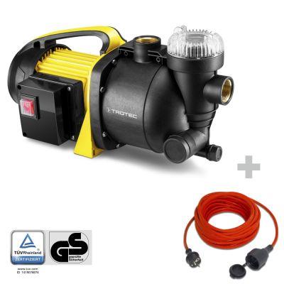 Gartenpumpe mit Filter TGP 1005 E + Qualitäts-Verlängerungskabel 15m / 230 V / 1,5 mm²