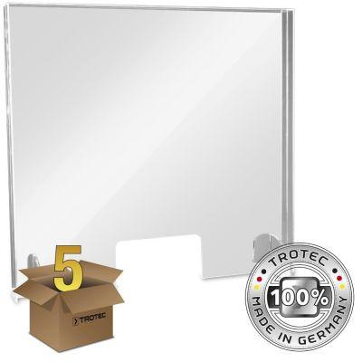 Thekenaufsatz Acrylglas mit Aerosol-Schutzkante im 5er Paket MEDIUM 795 x 250 X 750