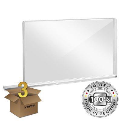 Schul-Schutzwand Acrylglas mit Aerosol-Schutzkante im 3er Paket SMALL 800 x 69 X 500