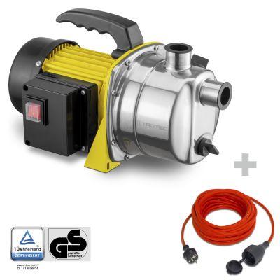 Gartenpumpe TGP 1000 ES + Qualitäts-Verlängerungskabel 15m / 230 V / 1,5 mm²