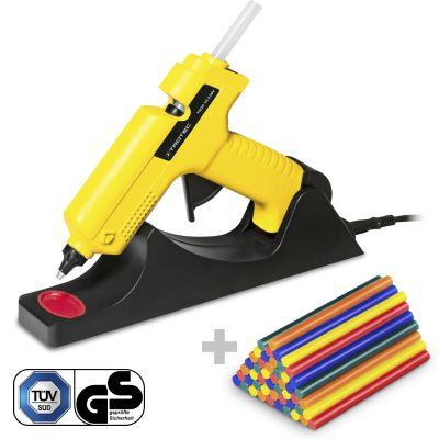 Heissklebepistole PGGS 10‑230V + Heissklebestifte-Set Bunt, 50 Stück (Ø 11 mm)