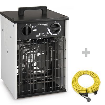 Elektroheizer TDS 20 + Profi-Verlängerungskabel 20 m / 230 V / 2,5 mm²