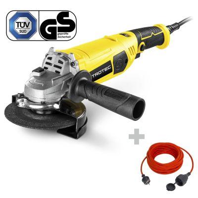 Winkelschleifer PAGS 11-125 + Qualitäts-Verlängerungskabel 15 m / 230 V / 1,5 mm²