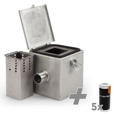 Rauchgaskammer Edelstahl V2 + 5x Rauchpatrone (weiss)