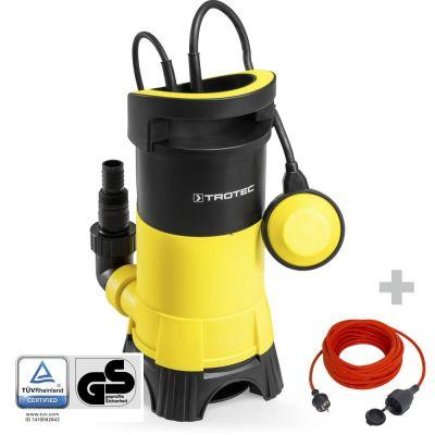 Schmutzwasser-Tauchpumpe TWP 11025 E + Qualitäts-Verlängerungskabel 15 m / 230 V / 1,5 mm²
